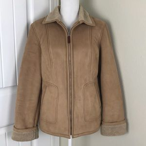 Gallery Faux Suede Jacket / Coat Sz M Tan